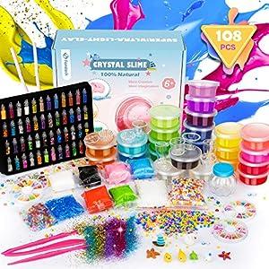 Fansteck DIY Slime Kit, Fabrica de Slime 108PCS: 22 Colores, Fluffy, Purpurina, Borax, Kit de Manualidades, Entretenimiento Niños y Regalo de Cumpleaños Navidad para Niños 3 4 5 6 7 8 Años
