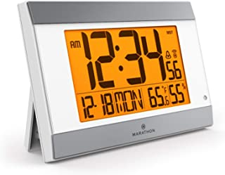 Marathon CL030052WH-SV Atomic Wall Clock with Auto Back Light Feature, Calendar, Temperature, Humidity and Big 2 ½ Inch Digits. C Cell Batteries Included. Color-White Panel/Silver Trim.