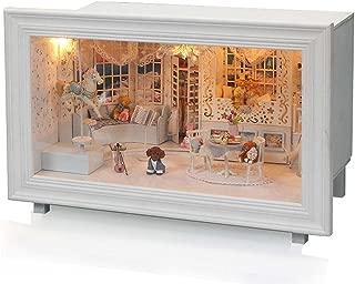 (moin moin) ドールハウス ミニチュア 手作りキット テディベアのプリンセスのお部屋 犬 トイプードル バイオリン LEDライト + オルゴール付