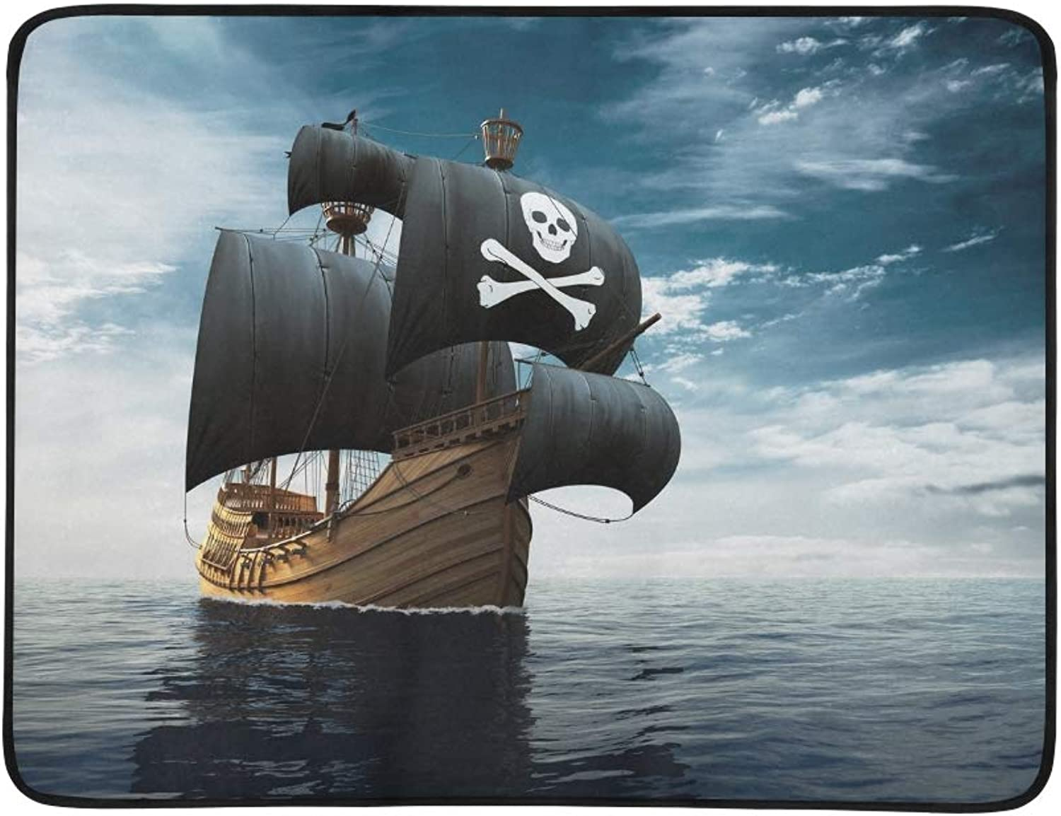 Pirate Ship On High Seas 3 D Portable and Foldable Blanket Mat 60x78 Inch Handy Mat for Camping Picnic Beach Indoor Outdoor Travel