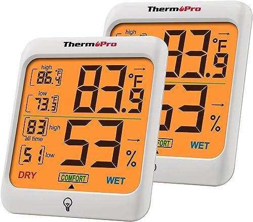 ThermoPro TP53 Hygromètre Indicateur D'humidité Intérieur Jauges de Température et D'humidité Thermomètre D'ambiance ...