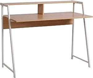 WOLTU® Schreibtisch TSG20hei Computertisch Bürotisch Arbeitstisch PC Laptop Tisch, mit Ablage, Gestell aus Stahl, 112x56x90cm(BxTxH), Holz, Eiche