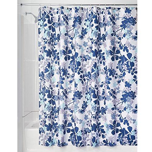 iDesign Petit Floral Textil Duschvorhang   farbenfroher Duschvorhang aus Stoff   leicht zu pflegene Duschabtrennung mit Blumen-Muster   Polyester lavendel/blau