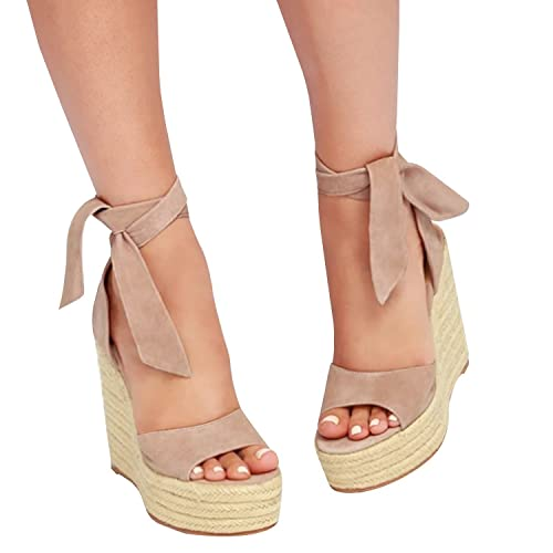 f408ef850e1 Runcati Womens Espadrille Wedge Platform Peep Toe Sandal Lace Up Summer  Ankle Wrap Shoes Slingback Dress