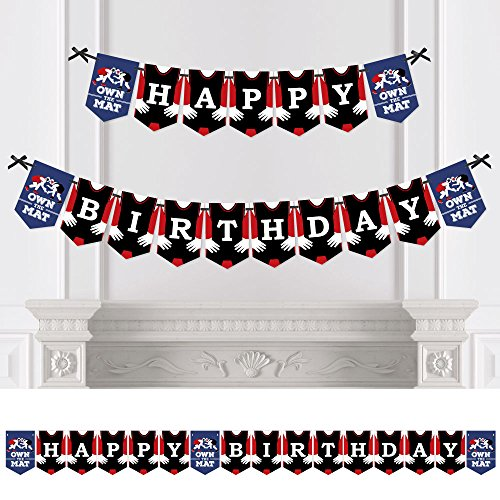 Big Dot of Happiness Own the Mat - Wrestling - Birthday Party Bunting Banner - Birthday Party Decorations - Happy Birthday
