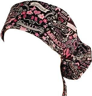 Big Hair Women's Scrub Cap - Pink Ribbon Collage on Black