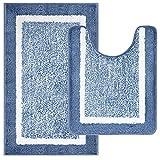 Pauwer Juego de 2 Alfombrillas de baño súper absorbentes y Antideslizantes con Pedestal, Alfombra de baño Lavable para Ducha, para Piso de baño (50x80cm+50x60cm, Verde Azulado)