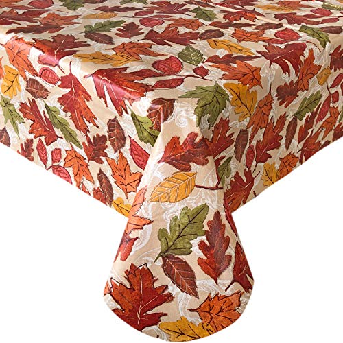Newbridge Leaves are Falling Autumn and Thanksgiving Print Vinyl Flannel Backed Tablecloth, Fall Season Contemporary Leaf Print Wipe Clean Tablecloth, 52' x 52' Square