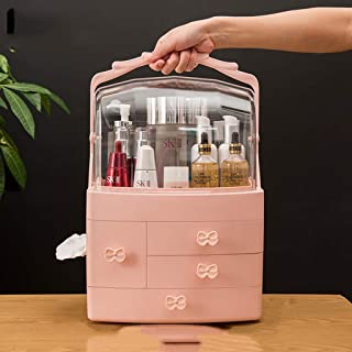 LPFMM Cosmetic Lipstick Dust Mask Storage Box Home Rotation Table Frame Portable Artifact Drawers Cosmetic Storage Box (Color : Pink)