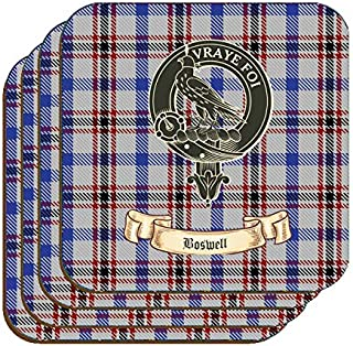BOSWELL SCOTTISH CLAN CREST - SQUARE DRINKS COASTER ON BOSWELL TARTAN BACKGROUND – SET OF FOUR