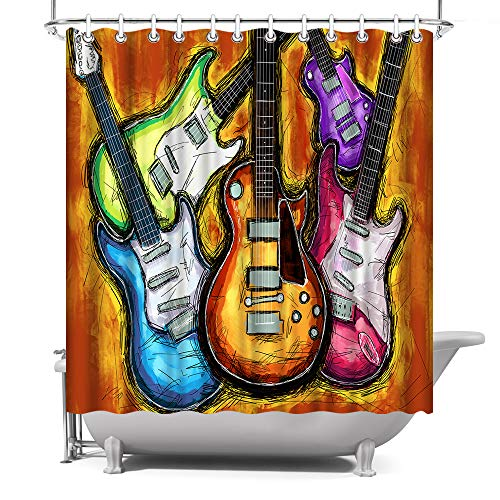 ArtBones Music Shower Curtain Musical Instruments Abstract Guitar Pattern Waterproof Fabric Bath Curtain with Hooks Music Lovers Gift 72x72inch