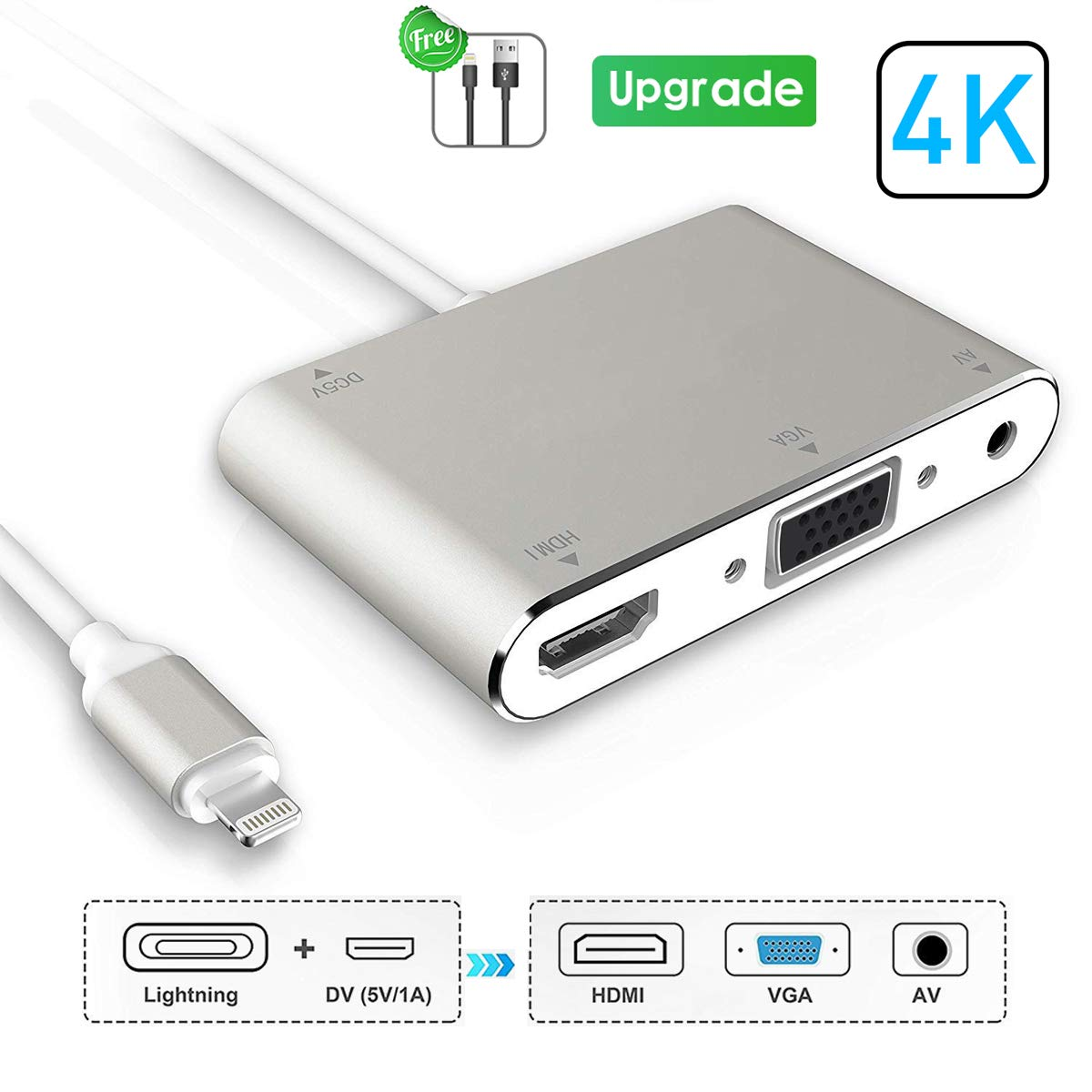 Adaptador HDMI VGA AV Plug /& Play Adaptador AV Digital Compatible con iPhone//iPad para proyector HDTV Plateado 4 en 1 Convertidor 2020