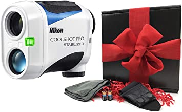 Nikon Coolshot Pro Stabilized Golf Laser Rangefinder Gift Box Bundle   Includes Nikon Coolshot Pro, Case, Cart Mount, Microfiber Towel, Extra Battery   Slope, Tournament Legal   Gift Box, Red Bow