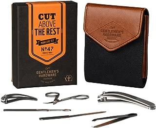 Gentlemen's Hardware 7-Piece Men's Manicure Kit with Canvas Case, Charcoal