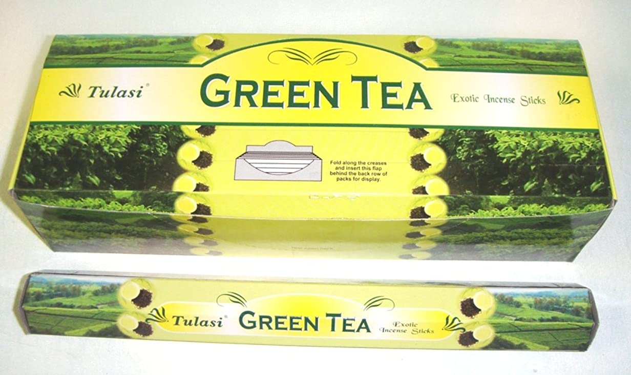 スクリューチロ古くなったTulasi グリーンティー(GREEN TEA)香 スティック 6角(20本入り)×1箱