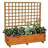 GASPO Blumenkasten mit Rankgitter Hellbrunn | Honig-Farben, aus massivem Holz | L 136 x B 37 x H 140, Pflanzkübel für Balkon und Garten