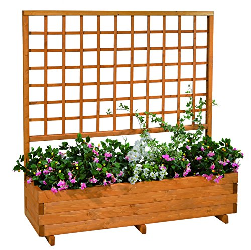 Gaspo planter with trellis Hellbrunn | honey colour, made of solid wood | L 136 cm x W 37 cm x H 140 cm, planter for balcony and garden