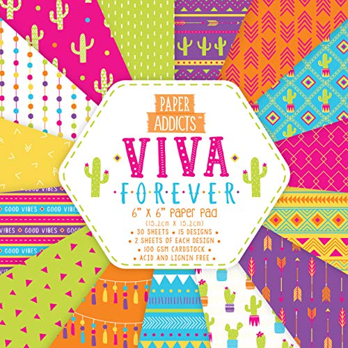 """Paper Addicts PAPAD053 Viva Forever 6""""x6"""" Paper Pad-30 Sheets-15 Designs-100GSM-Acid & Lignin Free-for Card Making, Papercraft, Scrapbooking, Die Cutting and Home Décor, multifarben, One Size"""