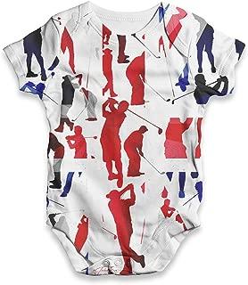 TWISTED ENVY Funny Infant Baby Bodysuit Onesie GB Golf Rainbow Collage