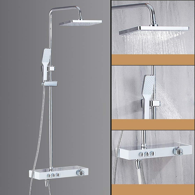 XSGDMN Badezimmer Regenset, Duschsystem mit 8-Zoll-Duschkopf Komplettset, Duschsystem mit Temperaturanzeige, temperaturgesteuert,B