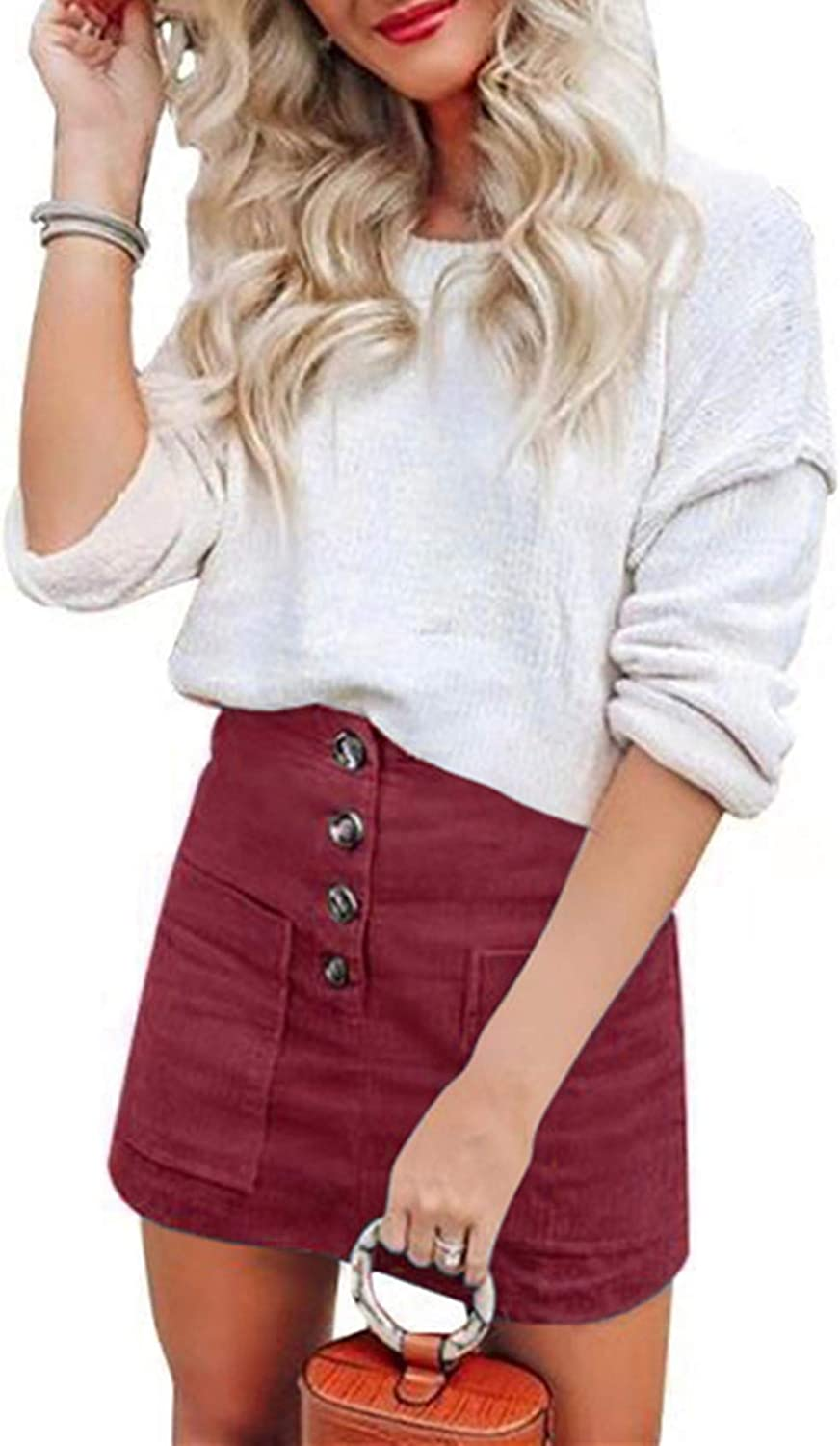 katiewens Women's Casual A-Line High Waisted Bodycon Button Pocket Corduroy Mini Skirt
