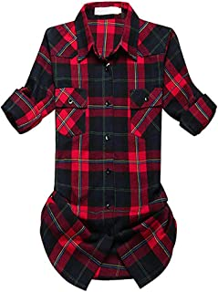 Women's Mid-Long Style Roll Up Long Sleeve Flannel Classic Plaid Shirts XS-XXL