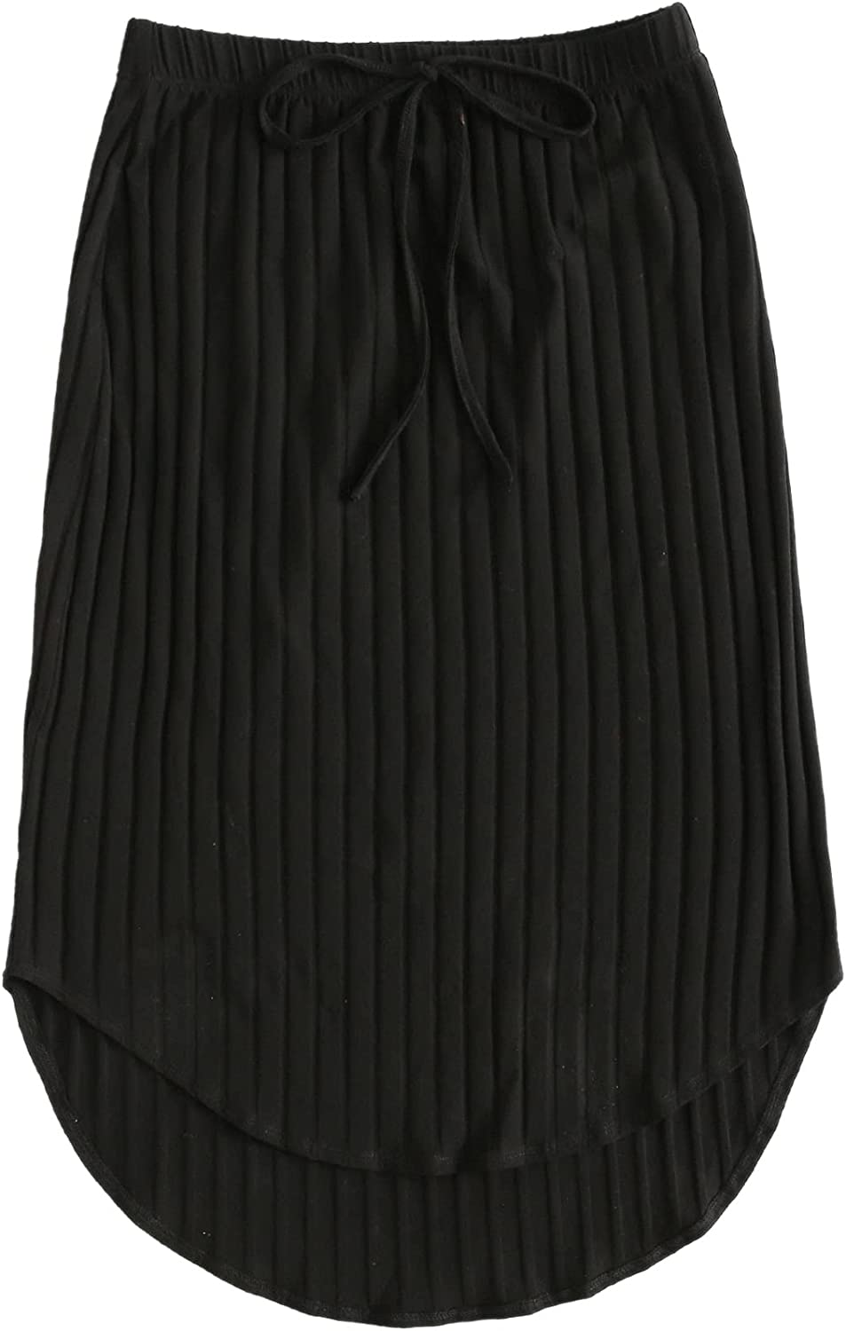 Floerns Women's Plus Size Casual Knot Waisted Curved Hem Knee Length Skirt