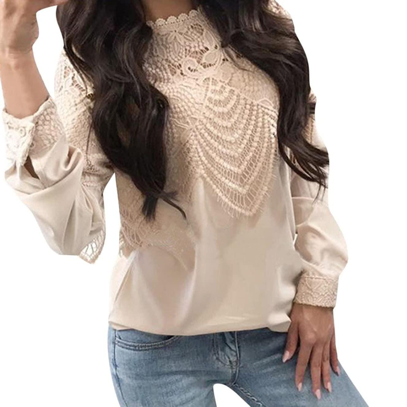 TIFENNY Women's Long Sleeve Tops Ladies Casual Clothes Lace Patchwork T-Shirt O Neck Blouse