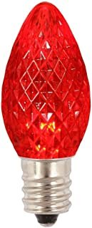 Festive Holiday Lights Minleon LED C7 Replacement Christmas Light Bulbs, Commercial Grade, 3 Diodes (Led's) in Each Bulb, Fits Into E12 Sockets (1, Red)