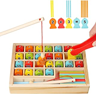 Mumoo Bear Wooden Magnetic Fishing Game, Montessori Learning Toys Fine Motor Skills Color Sorting Number Counting Math Toy...
