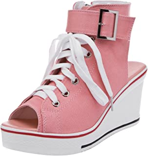 Women's Canvas High-Heeled Platform Wedge Fashion Sneaker...
