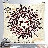 Tapiz de sol y luna Mandala colgante de pared Tarot tela de fondo psicodélico Tapiz brujería tapiz de pared a4 150x200cm
