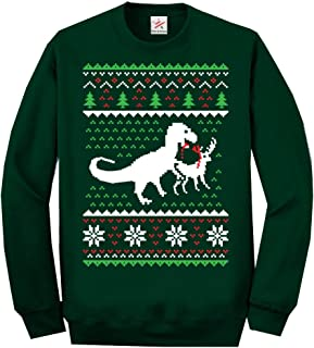 Star and Stripes Christmas Dinosaur Killing Reindeer Ugly Full Sleeve Sweatshirt Jumper Funny Printed Sweatshirts, Jumpers...