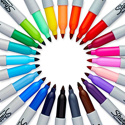 Sharpie Permanent Markers, Fine Point, 24-Pack, Assorted Colors, Electro Pop Limited Edition (1927350)
