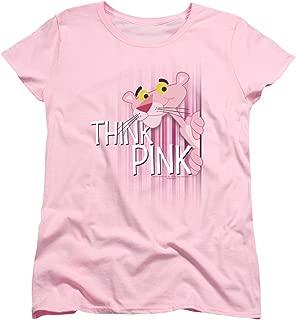 Pink Panther Cartoon Series Think Pink On Stripes Women's T-Shirt Tee