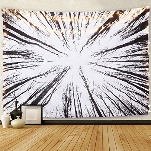 Tapiz Tapiz En Blanco Y Negro del Bosque Vida De Árbol En Crecimiento Visión 3Dbohemia Hippie Mandala Cubierta Cama Mantel Decoración Hogar Regalo 52 X 60 Inches