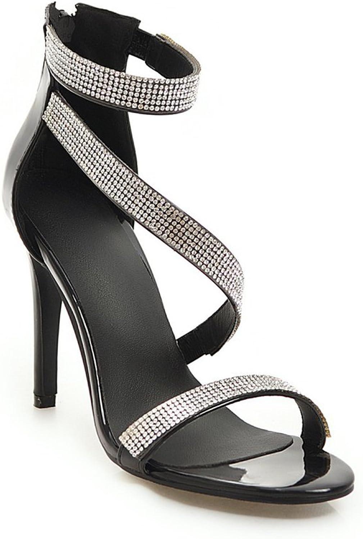 Btrada Womens Sexy Rhinestone High Heel Sandals Open Toe Back Zipper Fashion Party Dress Pumps