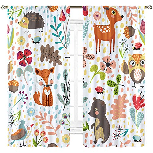 Cinbloo Kids Nursery Woodland Curtains Rod Pocket Forest Animal Baby Girl Boy Cute Cartoon Funny Colorful Art Printed Living Room Bedroom Window Drapes Treatment Fabric 2 Panels 42 (W) x 63(L) Inch