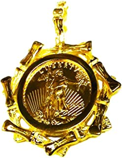 22Kt Fine Gold 1/10 Oz Lady Liberty Coin In 14K Yellow Gold Bamboo Frame Pendant