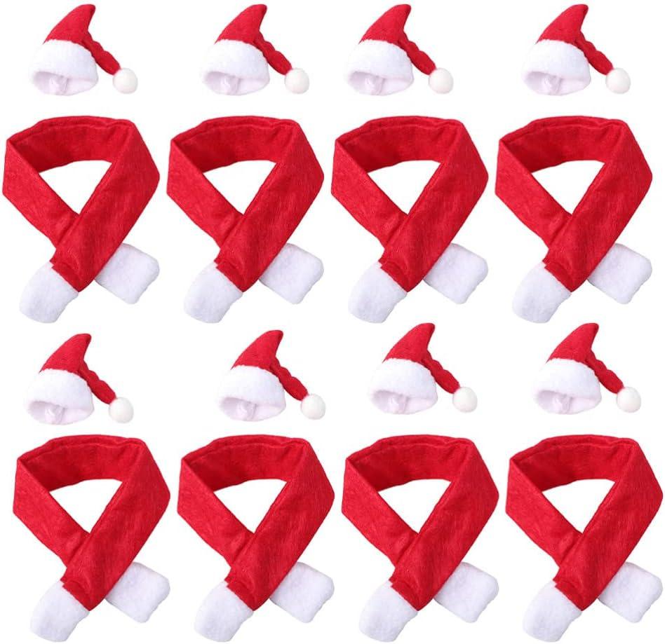 VOSAREA 8 Juegos de Gorras de Botella de Navidad Bufandas de Pollo Disfraz de Navidad Cubierta de Botella de Vino de Navidad Bufanda de Gallina Sombrero para Gallina Pollo Decoración de