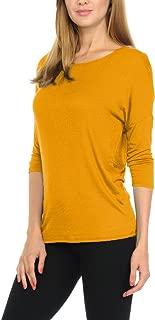 bluensquare Women T-Shirts Soft Rayon Jersey Top - 3/4 Dolman Sleeves, 5 Sizes(S-XXL)