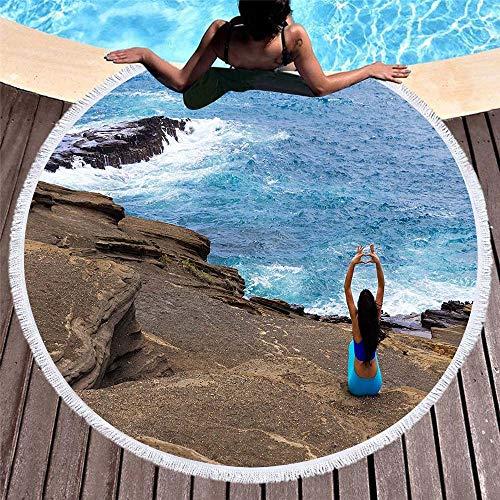 VSander Impresión En 3D Suave Redondo Clásico Ola Toalla De Playa con Flecos De Playa Estera De Yoga Estera Mantón 150 * 150 Cm