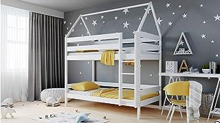 WFL GROUP Lit Superposé Maison pour Enfants 90x190 90x200 80x160 cm Lit Superposé 2 Places pour Enfants en Solide Bois de ...