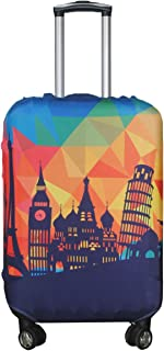 Travel Luggage Cover Suitcase Protector Fits 18-32 Inch Luggage (Modern City, L(27-30 inch Luggage))