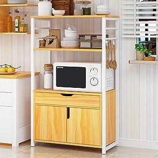 Vobajf Étagère Micro-Ondes 3-Tier Shelf Four à Micro-Ondes avec Socle Rack avec tiroirs de Rangement Cuisine Baker Étagère...