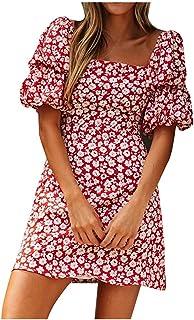 فستان الصيف للنساء مثير نحيف فستان الشمس السيدات النساء عارضة الأزهار طباعة اللباس قصيرة الأكمام شاطئ البسيطة اللباس