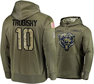 Dunbrooke Apparel Chicago Bears #10 Mitchell Trubisky Mens Salute to Service Hoodie - Olive