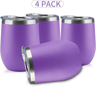 MUCHENG 12 Ounce Stemless Wine Glass Tumbler with Lid  Stainless Steel Double Wall Vacuum Insulated Travel Cup (4-Pack, Purple)