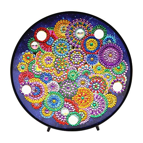 Flowers Diamond Painting Kits with LED Night Lights DIY LED Full Drill Special Shaped Mandala Diamond Painting Night Light Table Decor for Party Decoration or Christmas Gifts