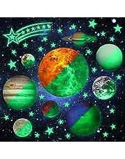 Glow in The Dark Stars Planeten voor Kids Lichtgevende Meteor Muursticker Negen Planeten Zonnestelsel Patroon Heldere en Realistische Sterren 9 Gloeiende Plafond Decals Ruimte Slaapkamer Accessoires Decoratie